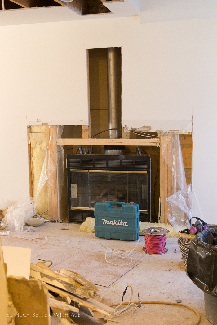 Renovation of fireplace.