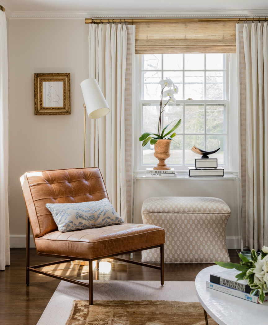 Wind's Breath by Benjamin Moore in room designed by Elements of Style.