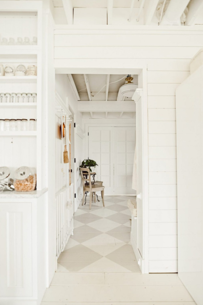 Diamond pattern wood floors painted with Feather Down and Grant Beige by Liz Marie Blog.