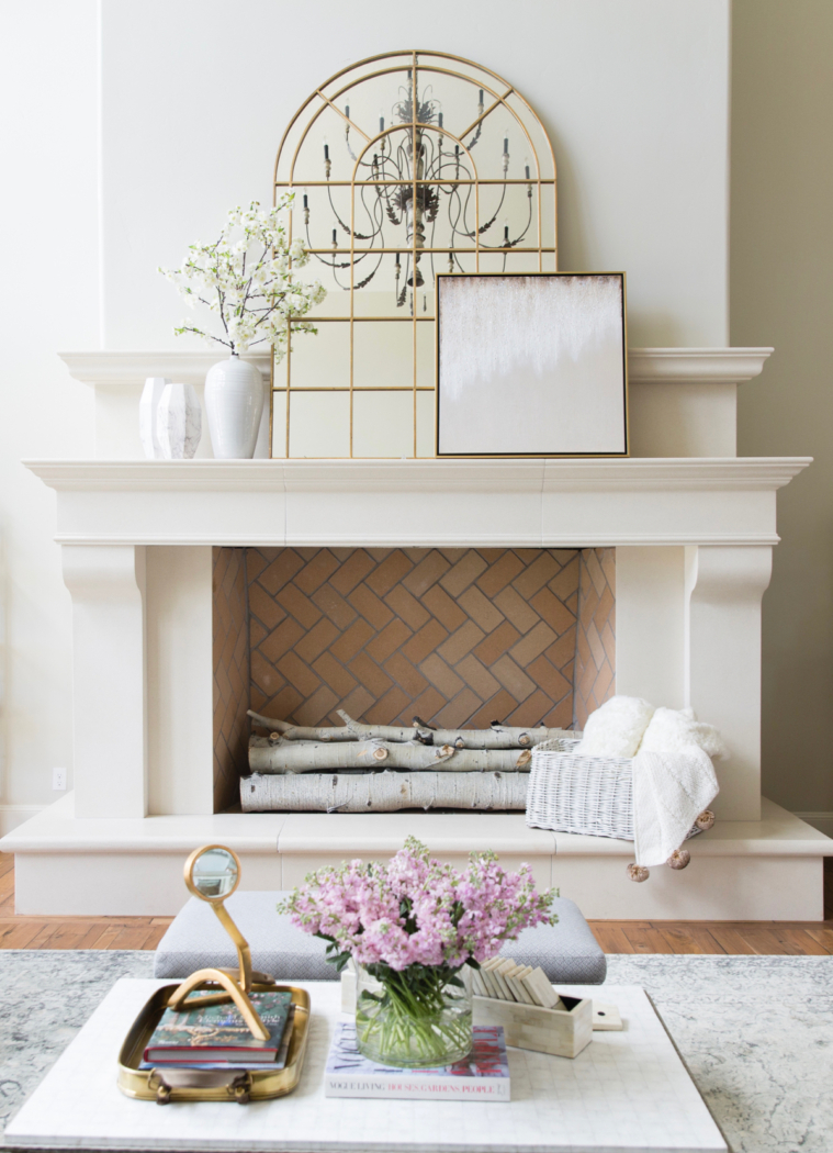 Cast stone fireplace via Rachel Purcell