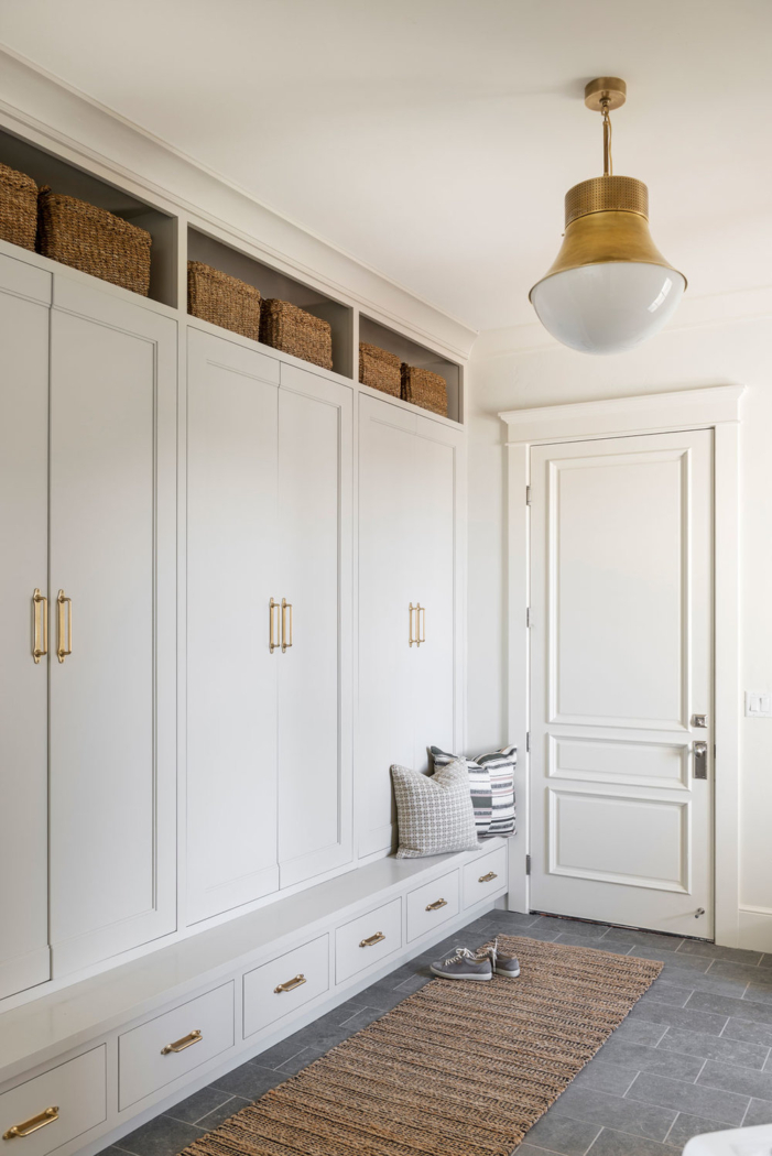Cabinet painted Revere Pewter Benjamin Moore by Studio McGee.