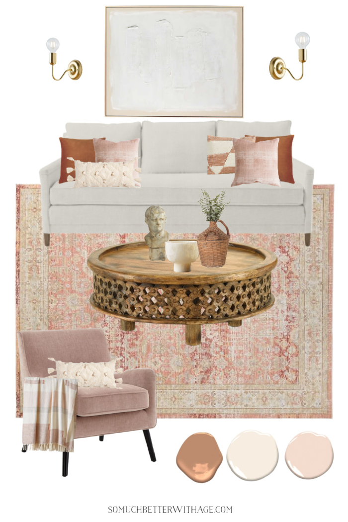 Valentine's Day inspired design board with sofa, coffee table, artwork, scones, chair and decor.