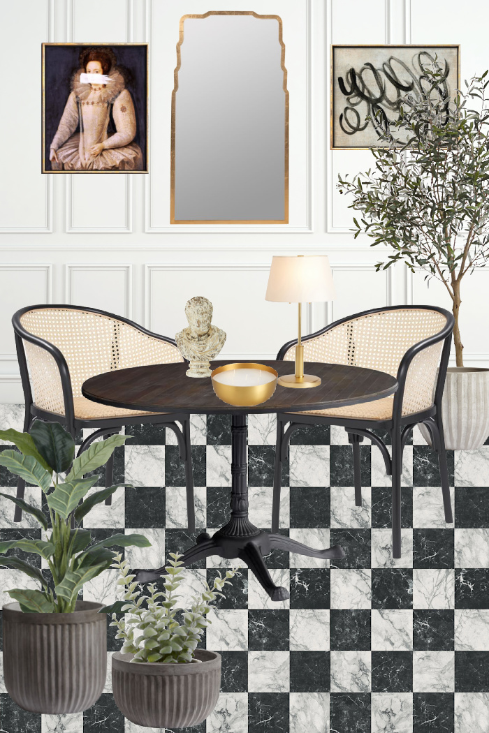 Black and white checkered floors, cane chairs, bistro table, gold mirror, plants in planters, French art.