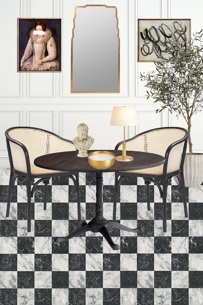 Black and white checkered floors, cane chairs, bistro table, gold mirror, plants in planters, art of vintage portrait and abstract art.