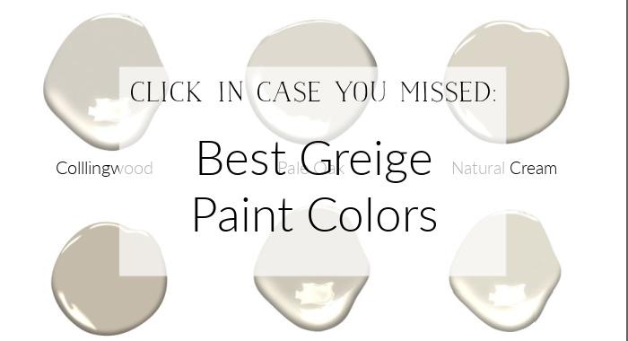 Best Greige Paint Colors poster.