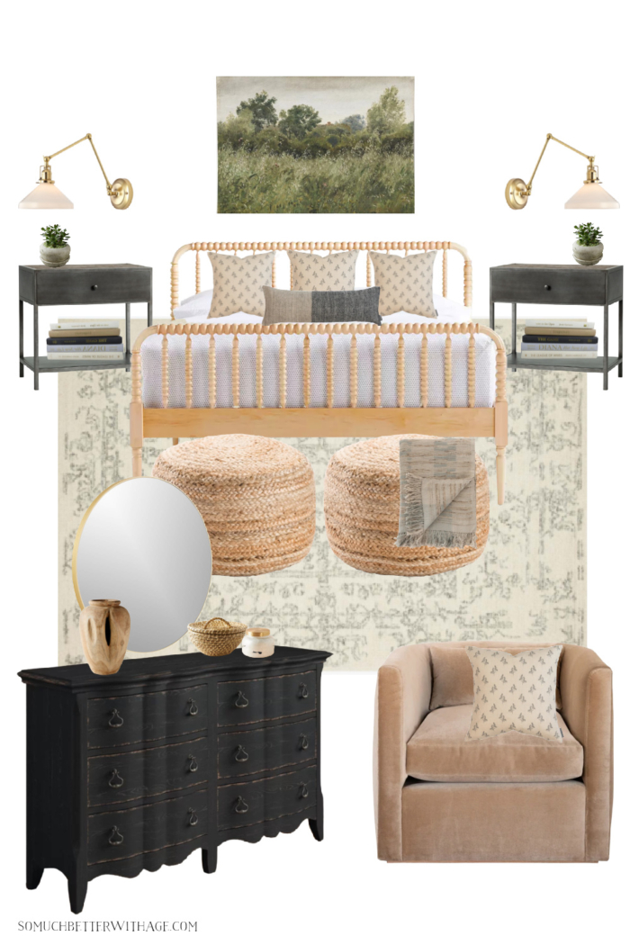 Bedroom design board with Jenny Lind maple bed, black dresser and Studio McGee chair.