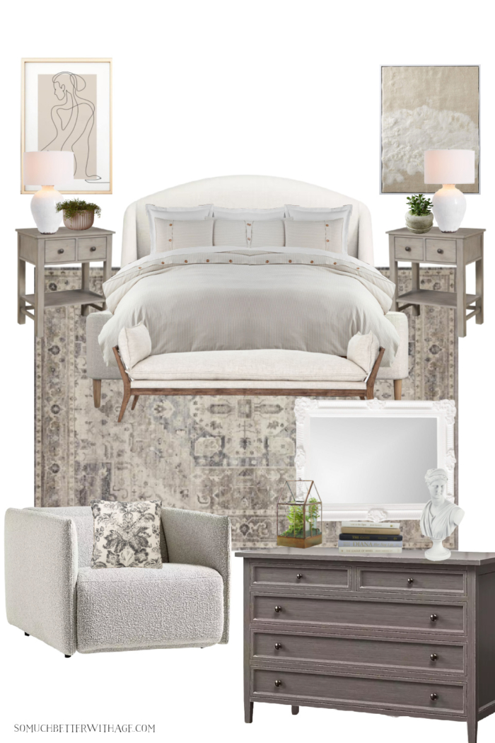 Neutral upholstered bed with linen and wooden bench, modern recliner chair, wooden dresser and abstract art.