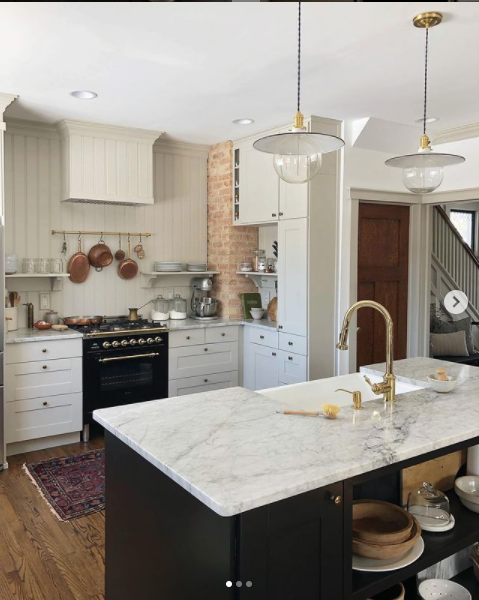 Kitchen reveal by Carpendaughter with beautiful mini light fixtures.