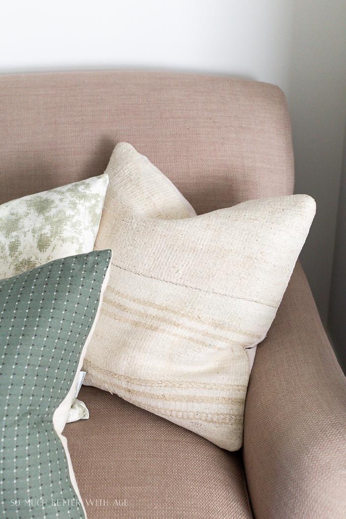 Killam neutral pillow on sofa.
