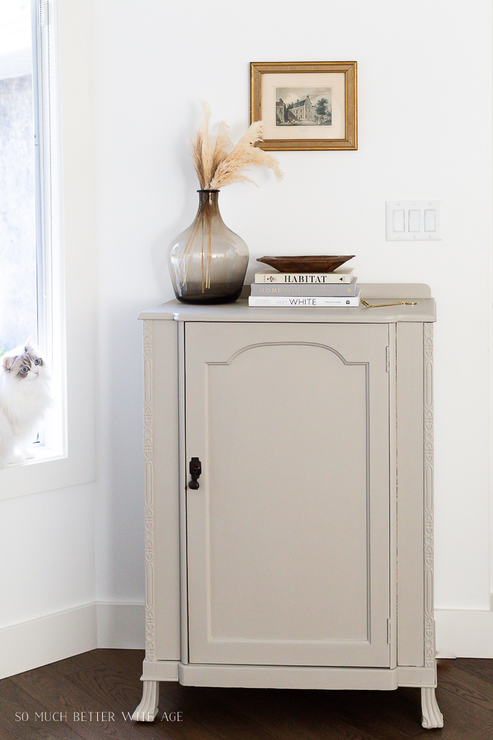 Painted cabinet with black handle and books on top with large brown vase and cat in the corner.