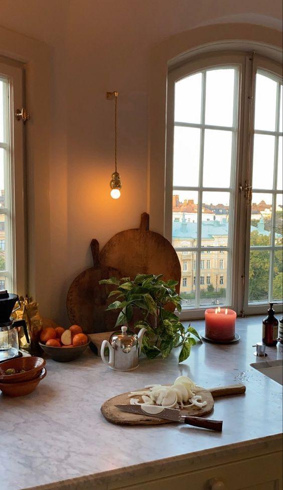 European kitchen with mini light fixture by Marie Louise Sjogren Design.