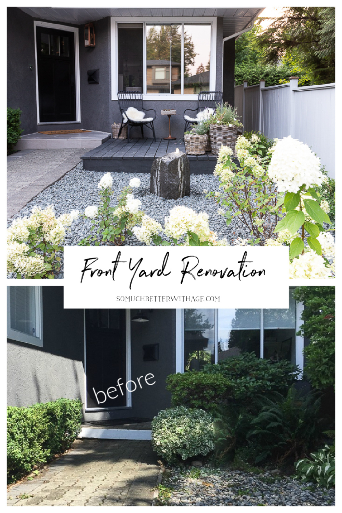 Before and after front yard renovation.
