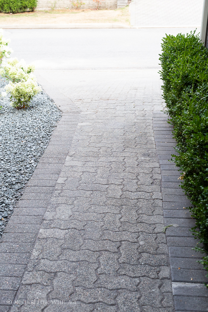 Newly laid paver walkway.