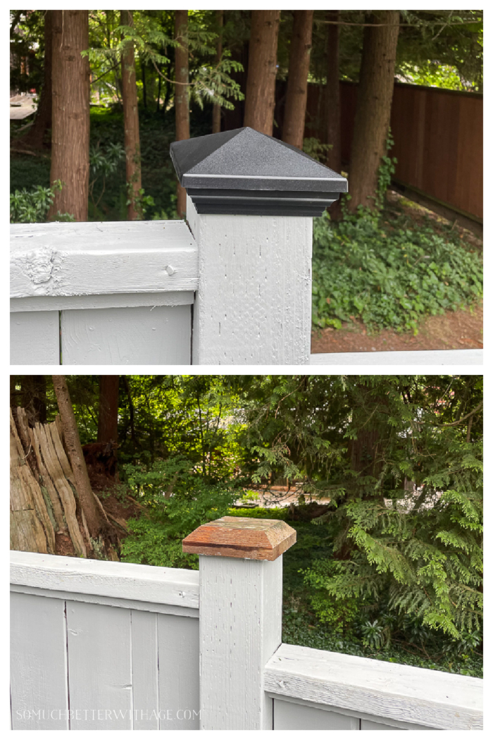 Replacing wooden fence post caps with black aluminum ones.