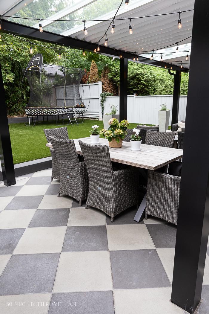 Checkerboard paving stones in backyard patio.