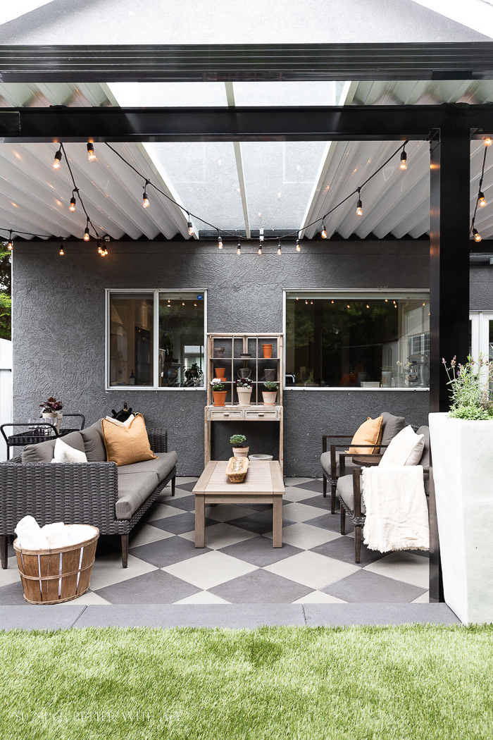 Skylights in aluminum awning in outdoor seating area.