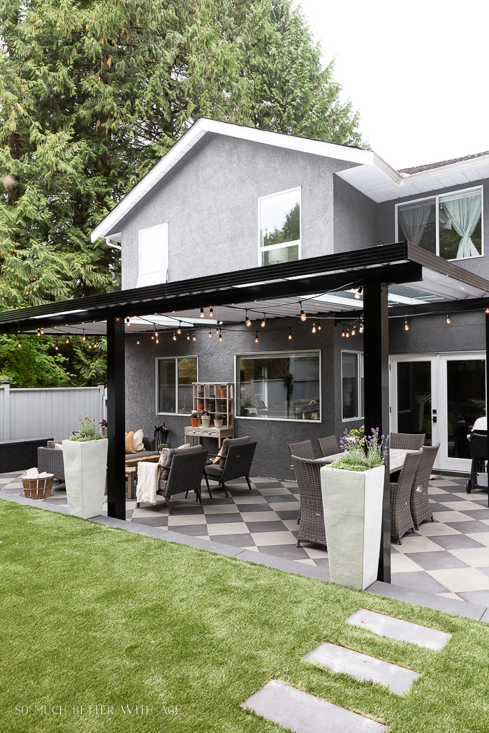Outdoor renovation with awning and artificial turf.