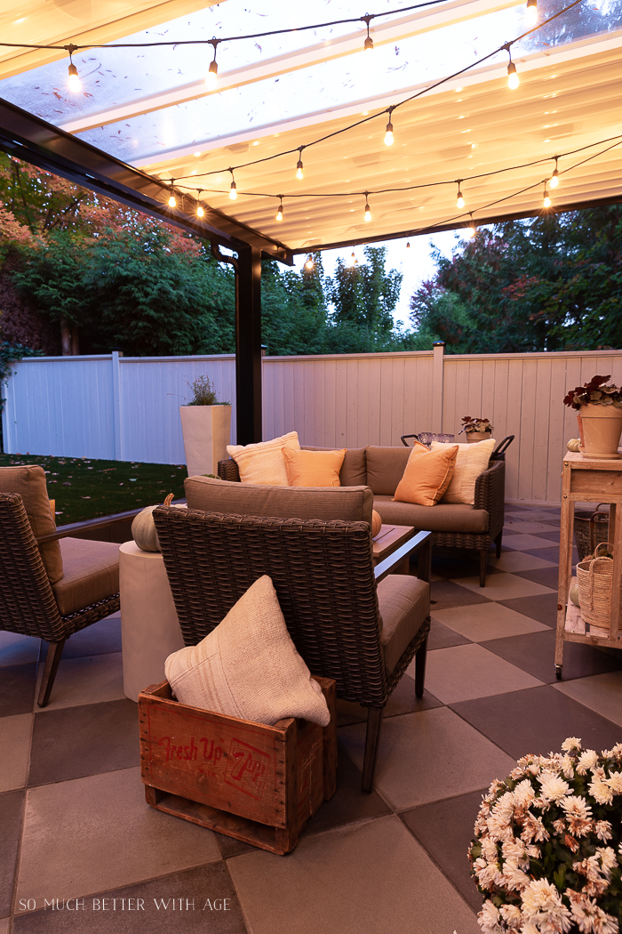 Outdoor seating area at night.