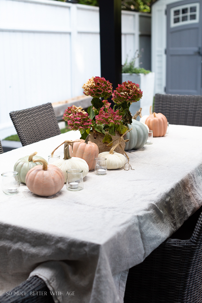 Hydrangea, pumpkins, candles and linen tablecloth on outdoor table.